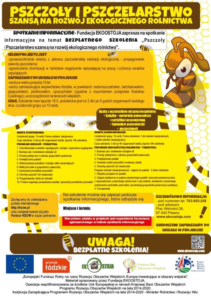 """Realizacja projektu """"Pszczoły i Pszczelarstwo szansą na rozwój ekologicznego rolnictwa"""""""